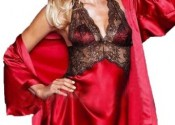 nuisette satin grande taille rouge