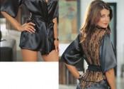 robe de nuit satin courte noir femme