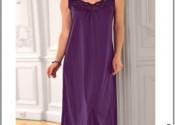 Tendance robe de nuit coton longue noir fille