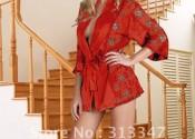 Tendance robe de nuit satin longue rouge femme