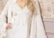 Tendance robe de nuit soie longue blanc fille