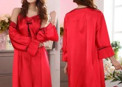 Tendance robe de nuit soie longue rouge
