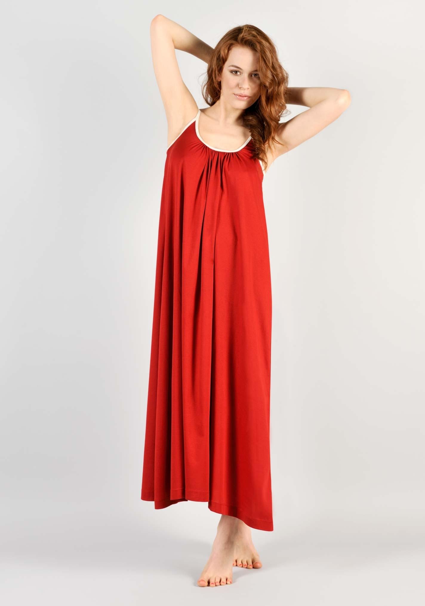 nouveaux styles d50a3 9c416 chemise de nuit coton longue rouge