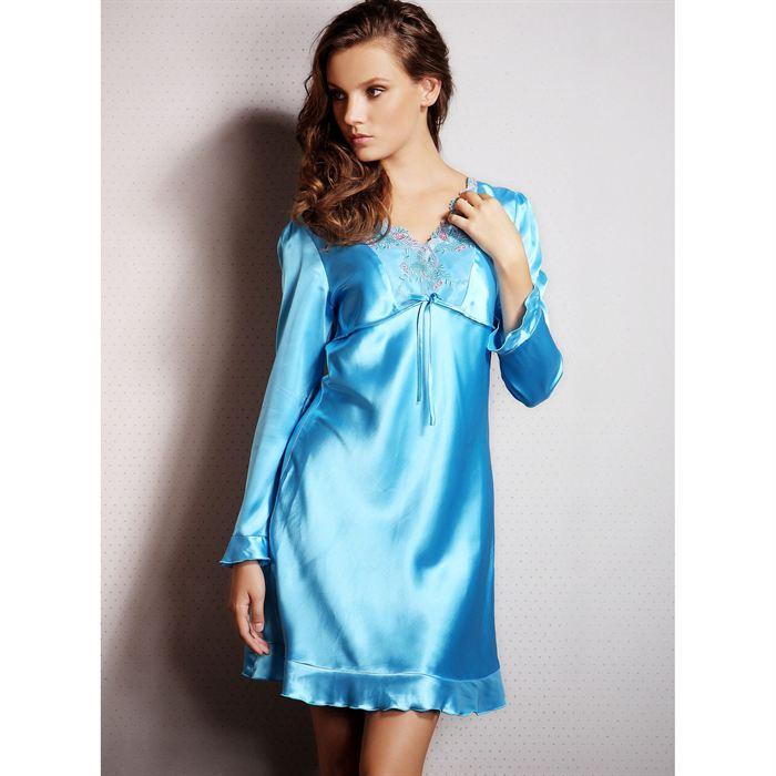 sortie en vente faire les courses pour offre chemise de nuit satin manche longue