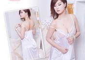 chemise de nuit soie courte blanc femme