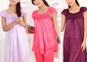 robe de nuit soie grande taille rouge femme