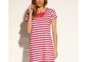 Tendance robe de nuit coton courte rouge femme